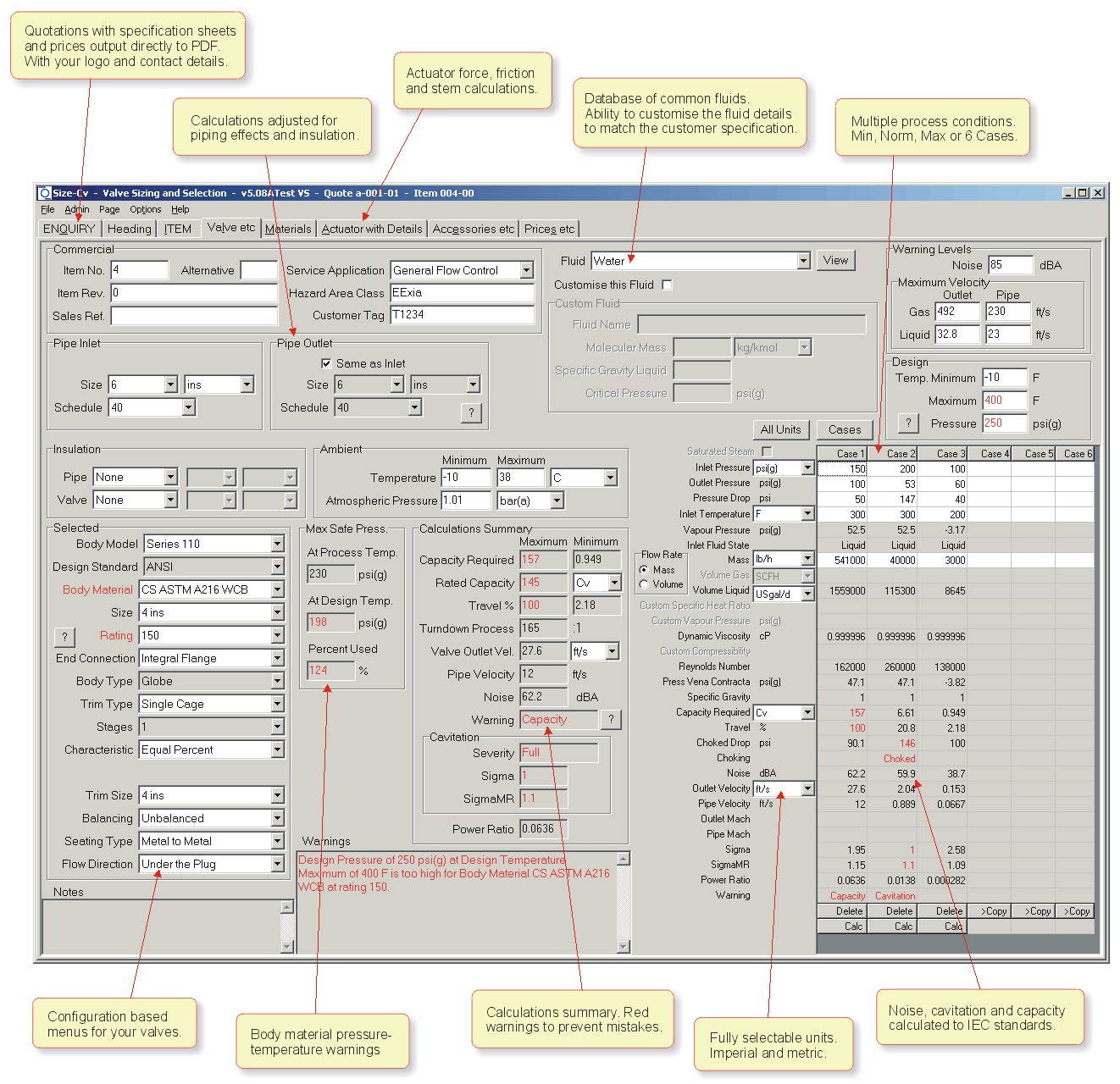 An annotated screen-shot of the Valve Sizing Program. This screen-shot shows the Valve page 